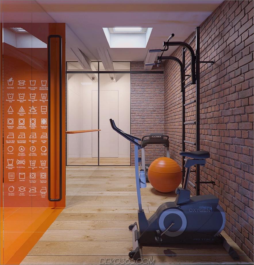 Fitnessstudio mit freiliegenden Ziegeln