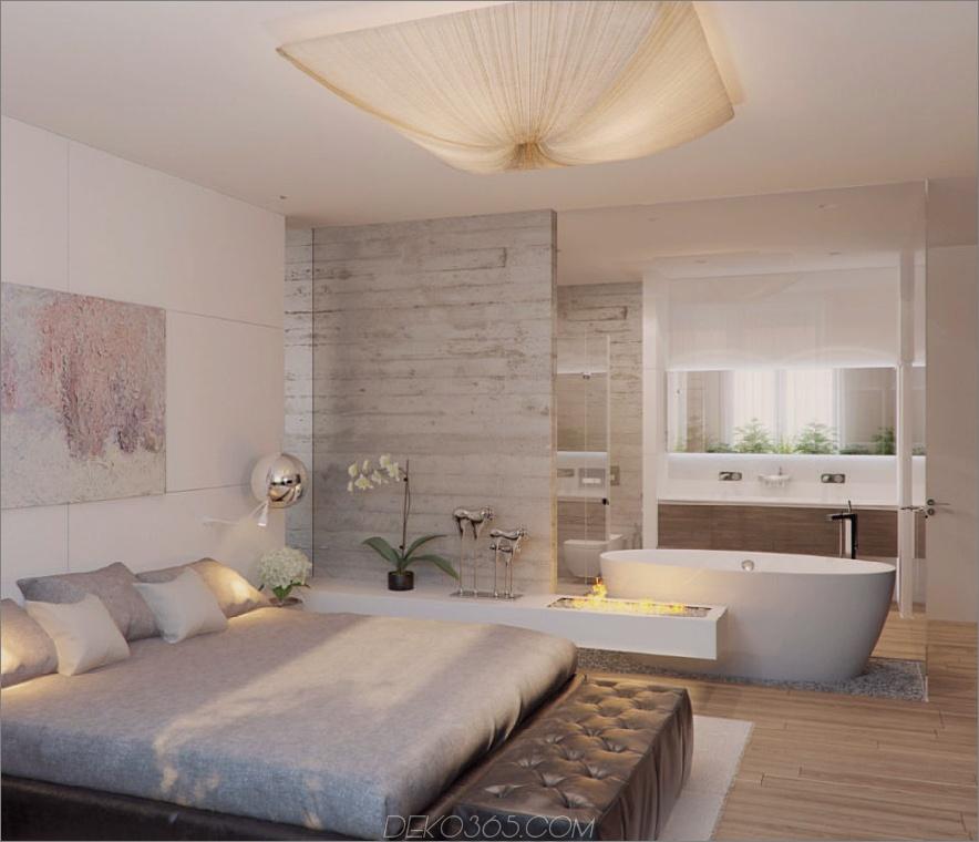 Wunderschönes Hotel-ähnliches Schlafzimmer mit Badewanne und Kamin