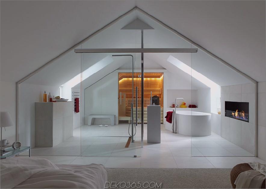 Dachgeschoss Schlafzimmer und Bad mit Sauna