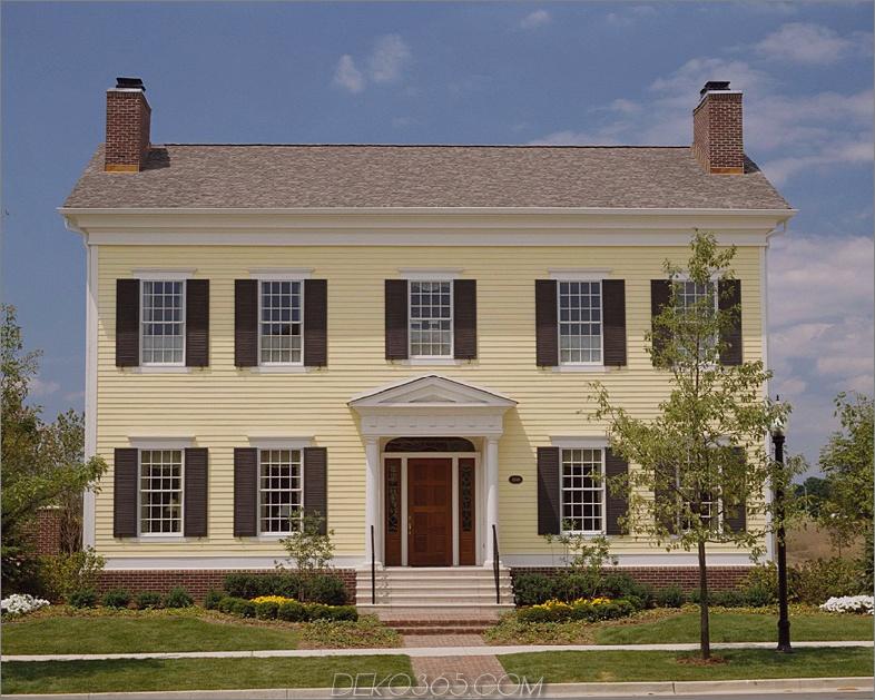 gelbes Haus im Kolonialstil In diesen 15 Häusern im Kolonialstil fühlen Sie sich warm und gemütlich
