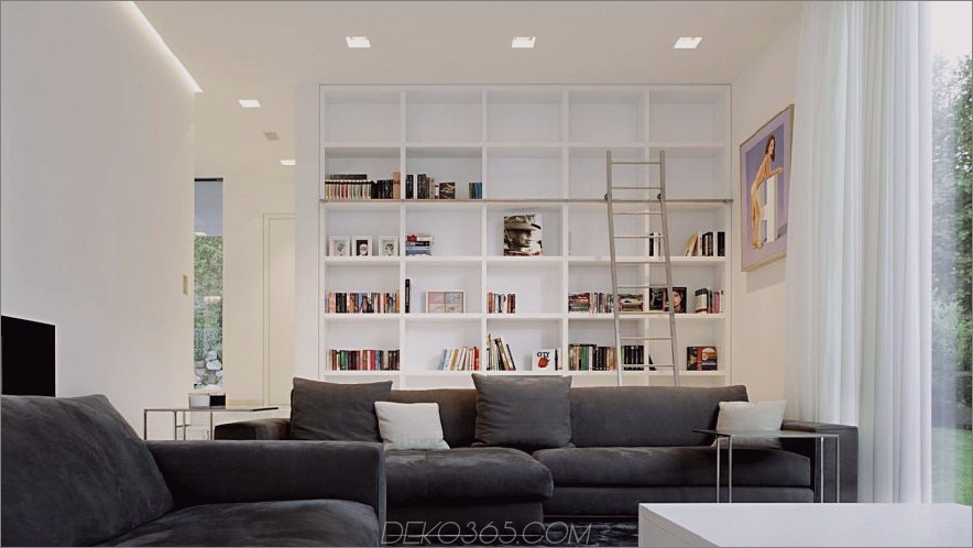 Moderne saubere Heimbibliothek