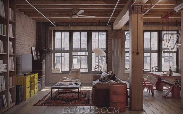Industrielle städtische männliche Wohnung Nordes Living Area thumb 630x393 14654 Industrieller Einfluss im Überfluss in städtischer männlicher Wohnung von Nordes