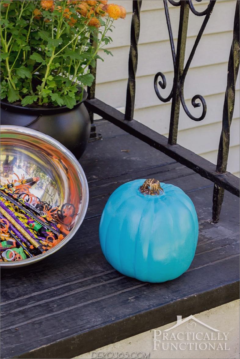 Aquamariner Kürbis kein schnitzen Kürbis, der Ideen für Erntedankfest und Halloween verziert