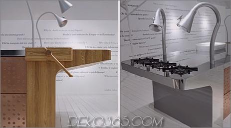 Schiffini Konzeptküche - Inseldetail aus Naturholz mit verstellbaren Lampen