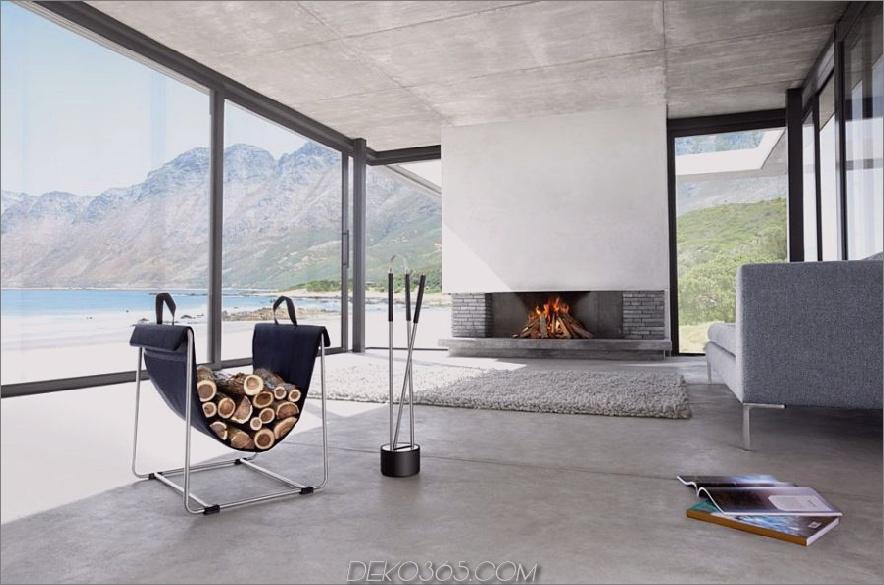 Einfacher moderner Kamin-Werkzeugsatz aus Edelstahl