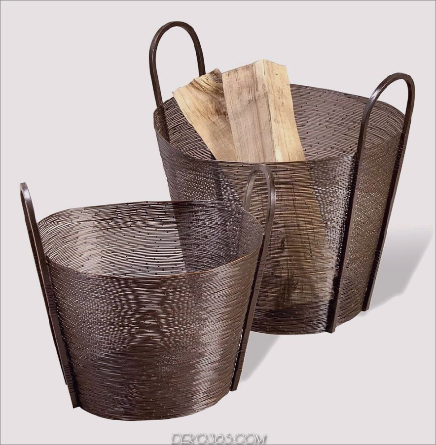 Astor Contemporary Modern Metal Woven Mesh Baskets - antike Bronze