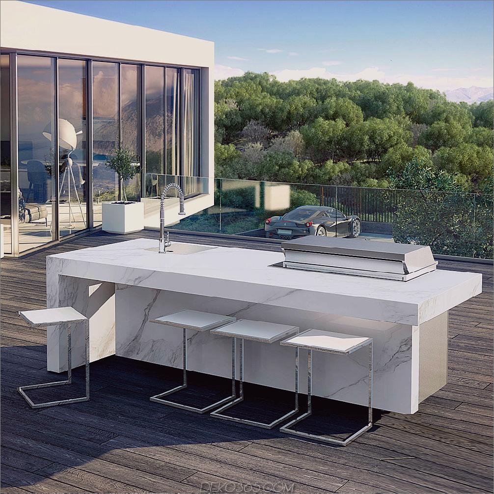 weiße Outdoor-Küche Luxuriöse moderne Outdoor-Raumideen