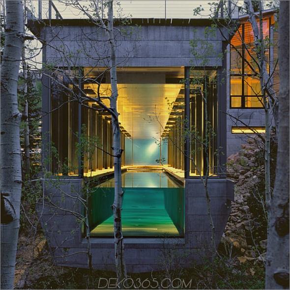 Bcj Farrar Residence Luxury Mountain Home zum Verkauf in Park City, Utah, der Pool führt weiter in den Wald ...