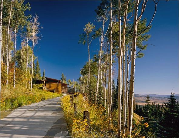 bcj farrar residence 1 Luxus-Berghaus zum Verkauf in Park City, Utah, der Pool führt weiter in den Wald ...