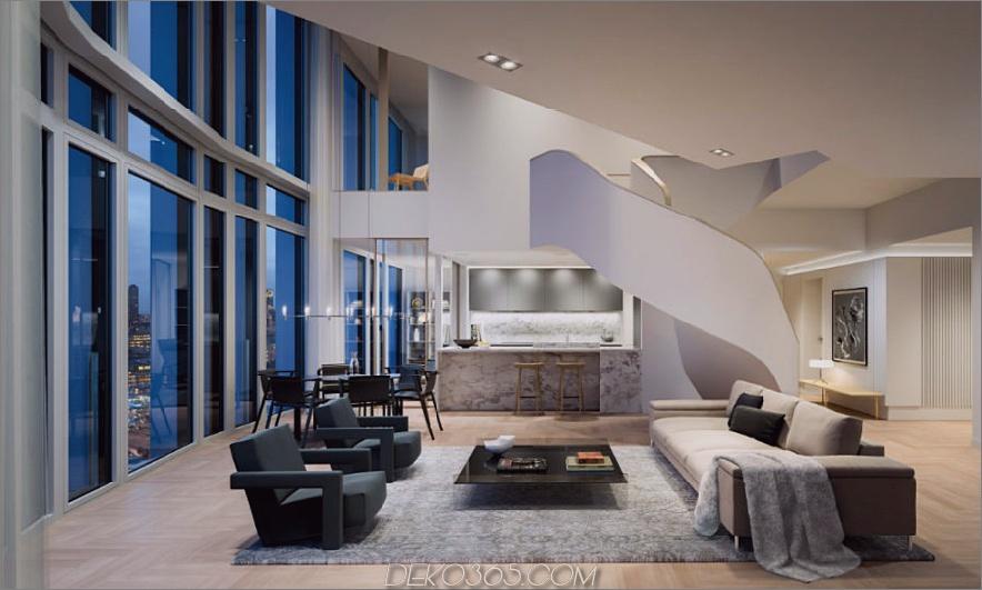South Bank Tower Penthouse-Wohnbereich und Küche
