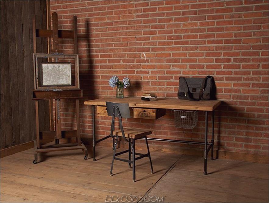 Industrieller Schreibtisch aus wiederverwendetem Holz mit Pfeifenbeinen