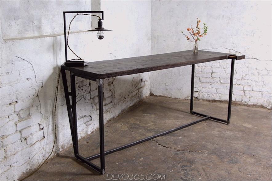 Reclaimed Oak Wood Pencil Drawer Desk
