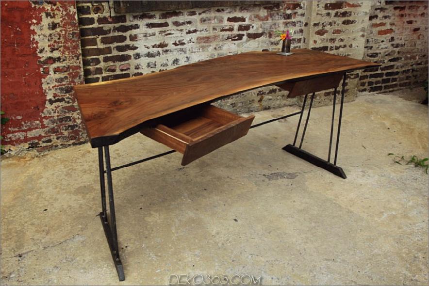 Zurückgeforderter Schreibtisch aus Walnussholz mit 2 Schubladen