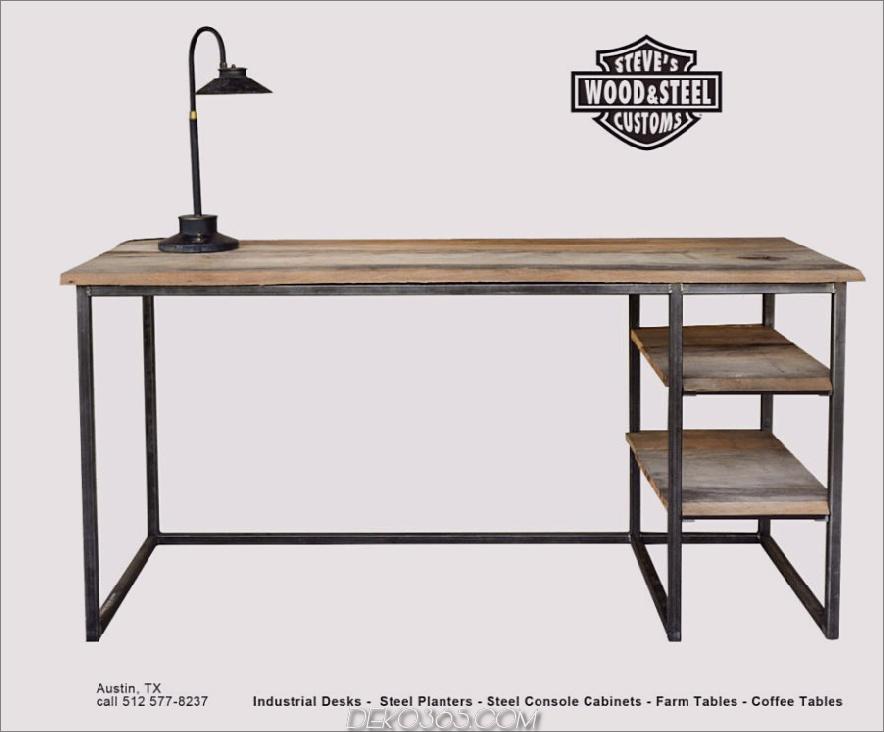 Industrieller Schreibtisch aus wiederverwendetem Holz