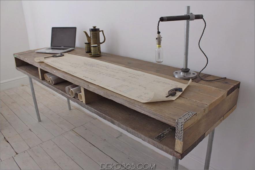 Ellie Reclaimed Scaffolding Board Urban Industrial Chic Long Desk mit integriertem Stauraum und verzinktem Stahlbein