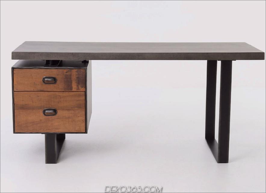 Clapton Industrial Concrete + Wood Schreibtisch mit Schublade