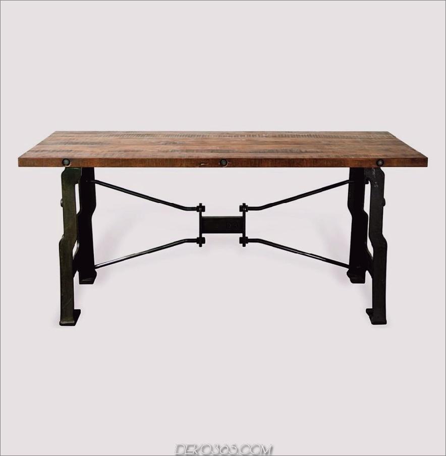 Oliver A Frame Industrieller Schreibtisch aus wiederverwendetem Holz aus Gusseisen