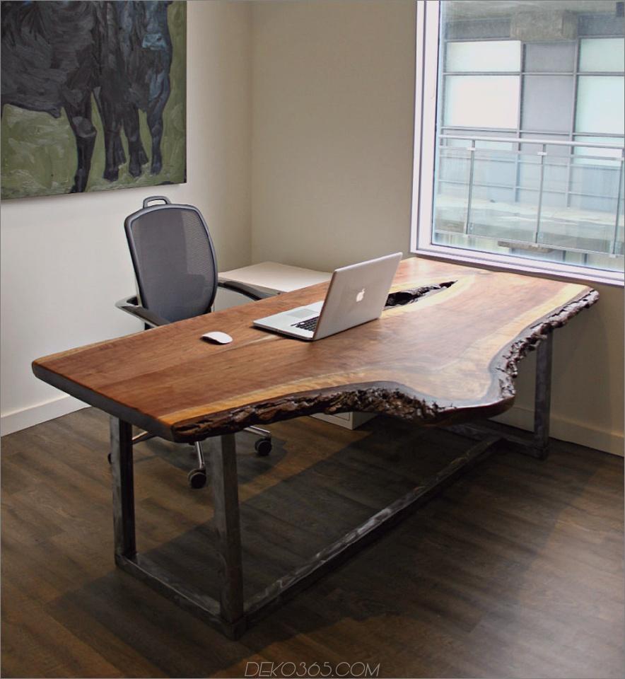 Live Edge-Schreibtisch aus Walnussholz mit beunruhigter Stahlbasis