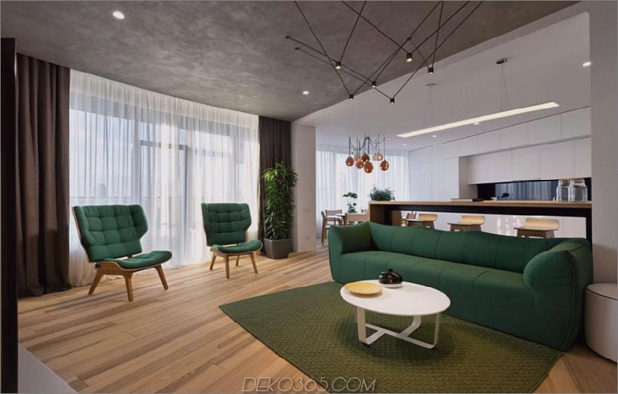 Offenes Wohnzimmer fließt in Küche 900x572 Minimal Apartment in Kiew hat viel zu zeigen