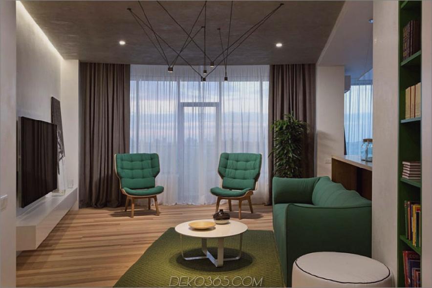 Neutrales Wohnzimmer hat viel helles Grün als Akzentfarbe 900x600 Minimal Apartment in Kiew hat viel zu zeigen
