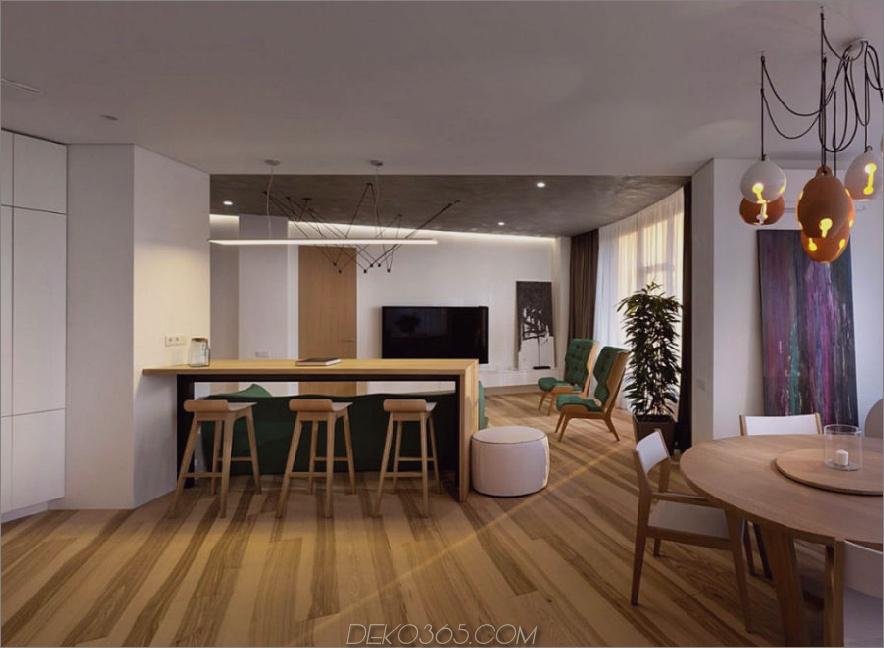 Ein Halbinsel-Tisch trennt die Küche bequem vom Wohnzimmer