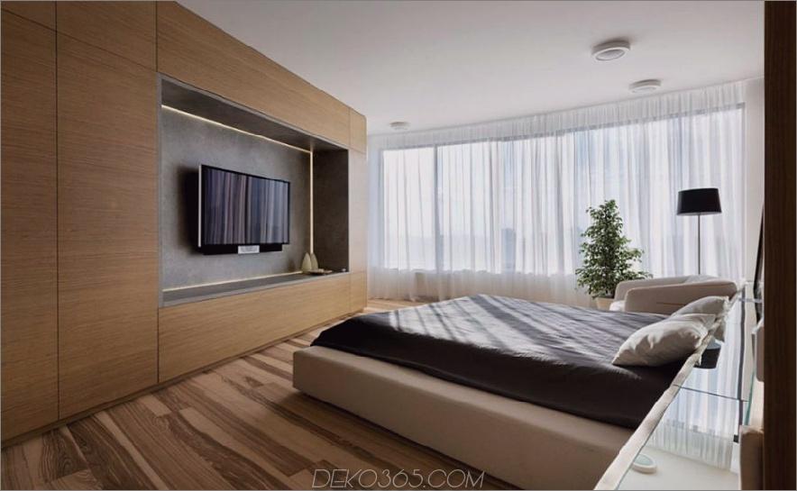 Das Schlafzimmer verfügt über eine eigene Unterhaltungseinheit mit viel Stauraum