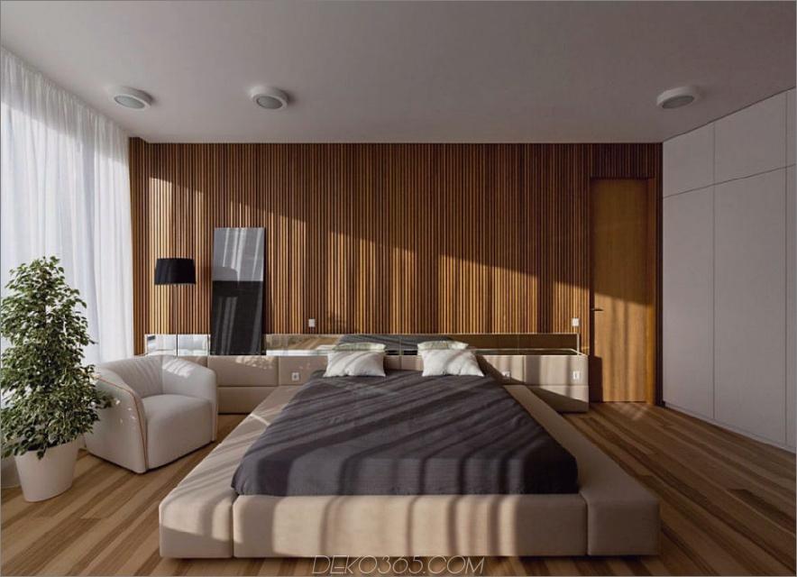 Ein trendiger, weicher Bettrahmen fügt dem Schlafzimmer noch  Wärme hinzu