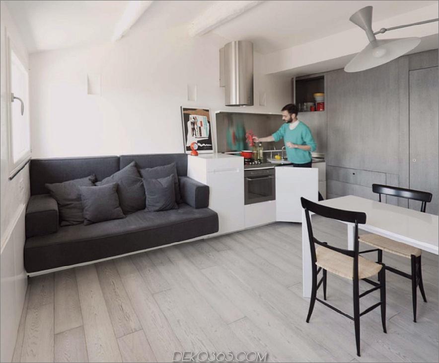 Buil-in Sofa in einer kleinen Apartmentküche
