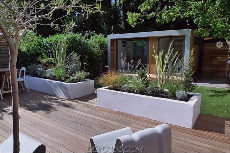 Moderner Garten mit einer Schote