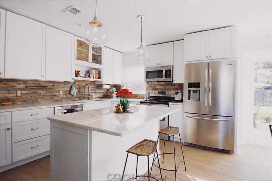 Küchenrückwand aus recyceltem Holz