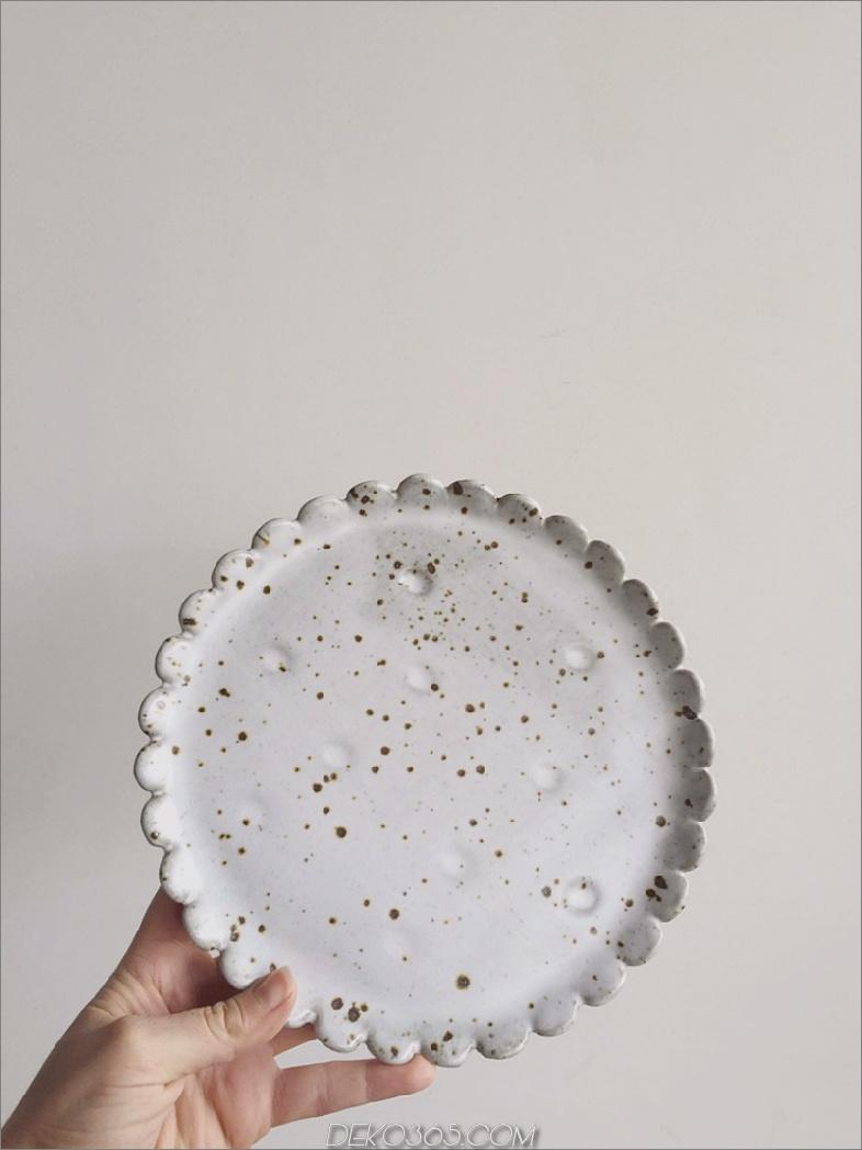 Blumen-Teller-Weiß-Fleck