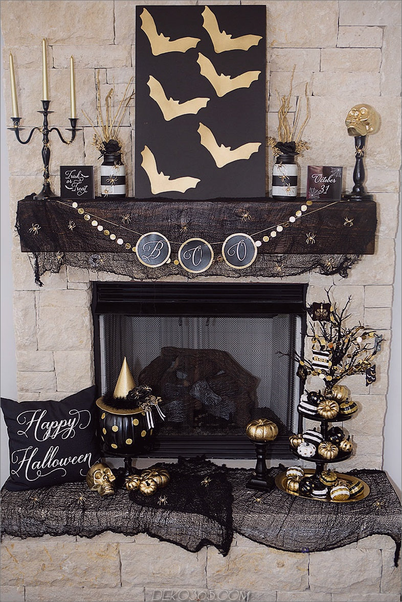 Schwarz und Gold Halloween Dekor