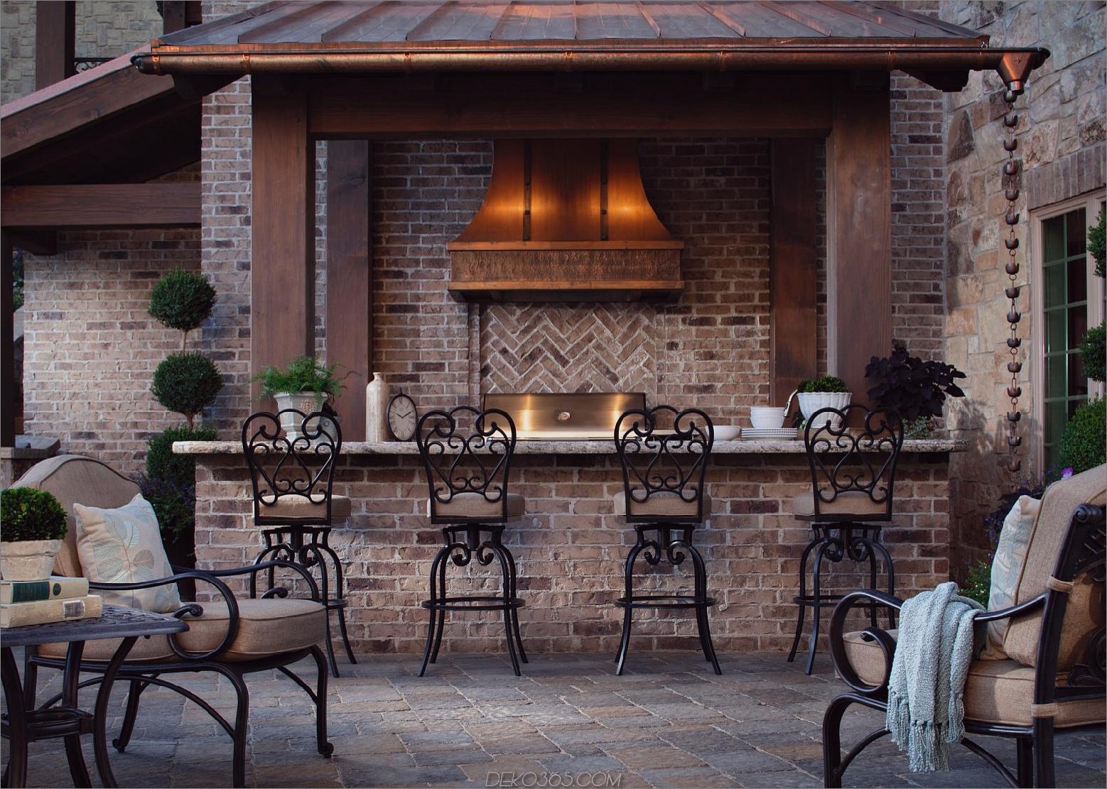 eingebauter Grill mit Station Outdoor-Küche-Ideen, die Sie zum Sabbern bringen