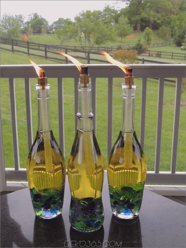 DIY Weinflasche Tiki Fackeln