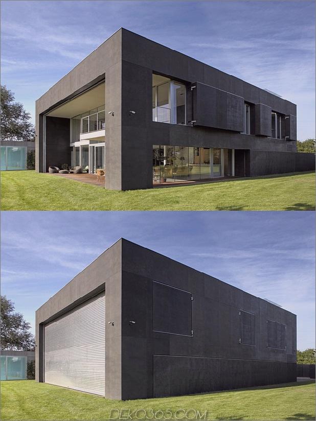 Haus schließt Betonwürfel, der verglaste Bereiche abdeckt 1 Ecke Daumen autox839 43060 Safe House: Amazing Home schließt sich in einen Vollbetonwürfel