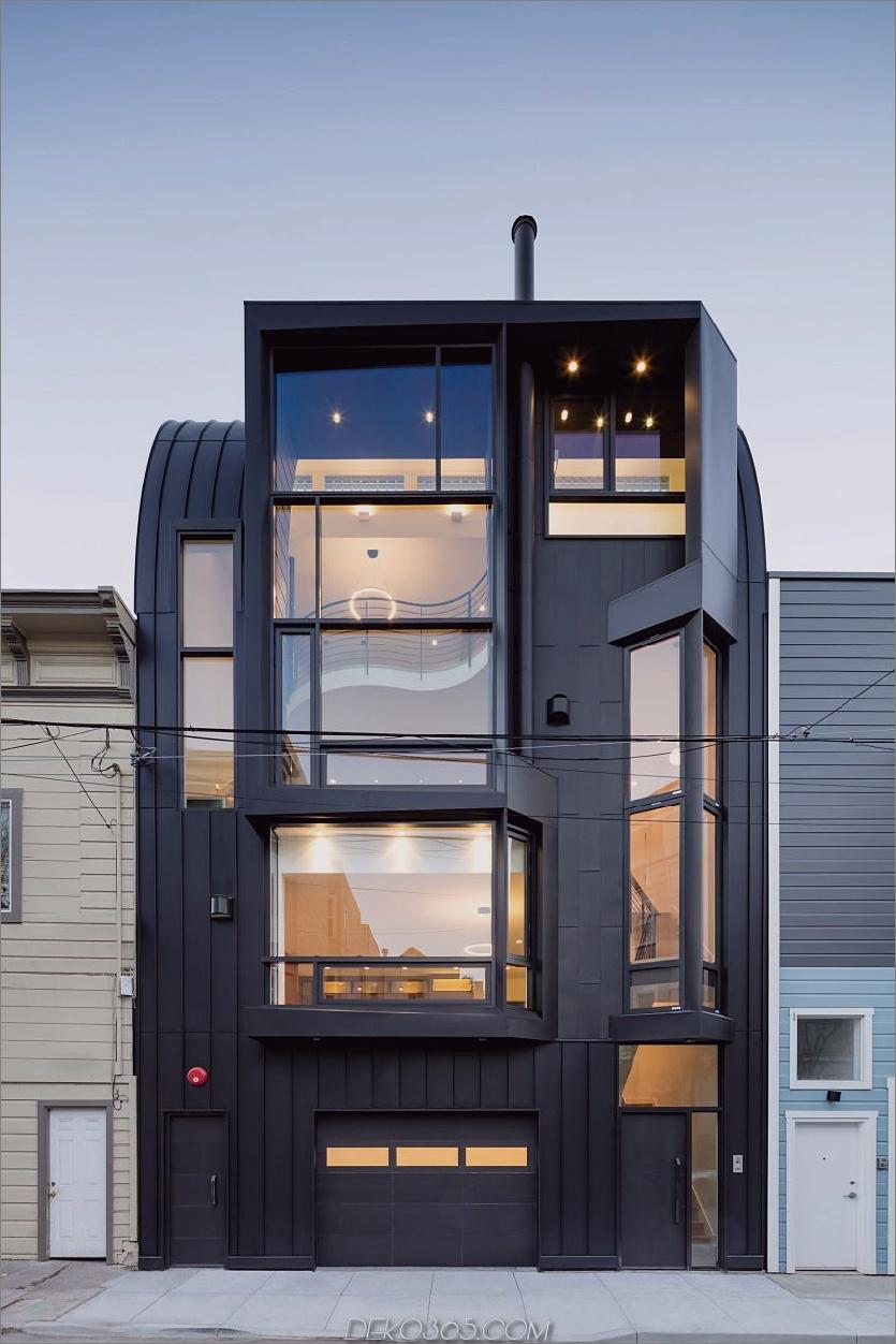 Die außergewöhnliche Fassade erzeugt zahlreiche seltsam geformte Fenster. San Francisco Apartment Building wird Linden Street Jewel