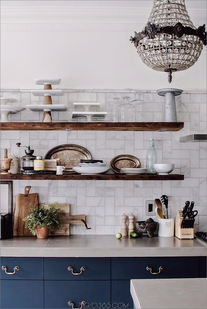 rustikale Regale Chic Küchen mit offenen Regalen