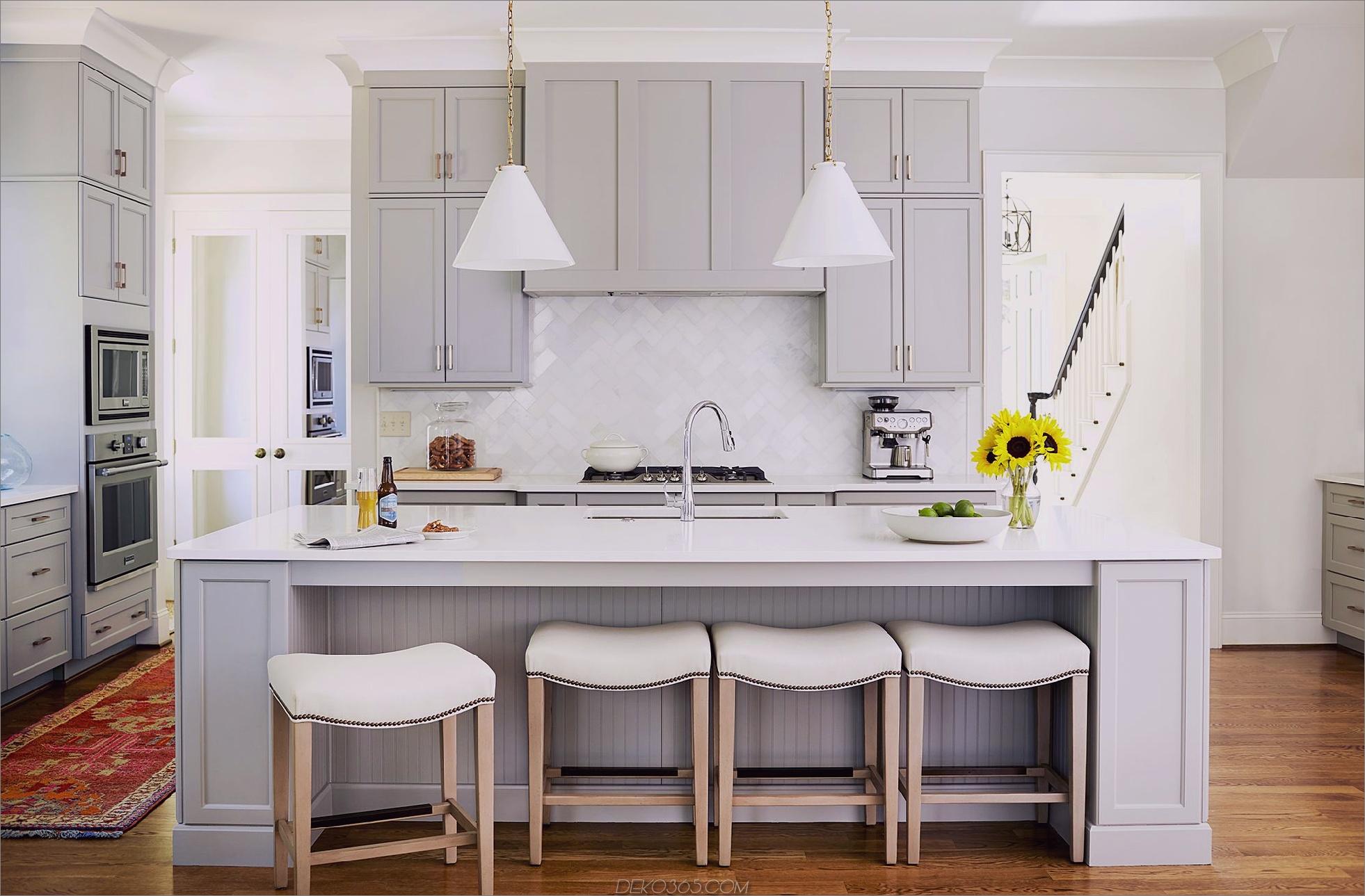 graue Küche mit verdeckter Haube Chic Küchen mit verdeckten Dunstabzugshauben