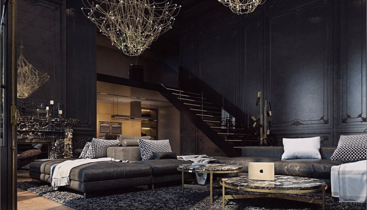 Schönes schwarzes Interieur in einem historischen Pariser Apartment_5c58df2203fcd.jpg