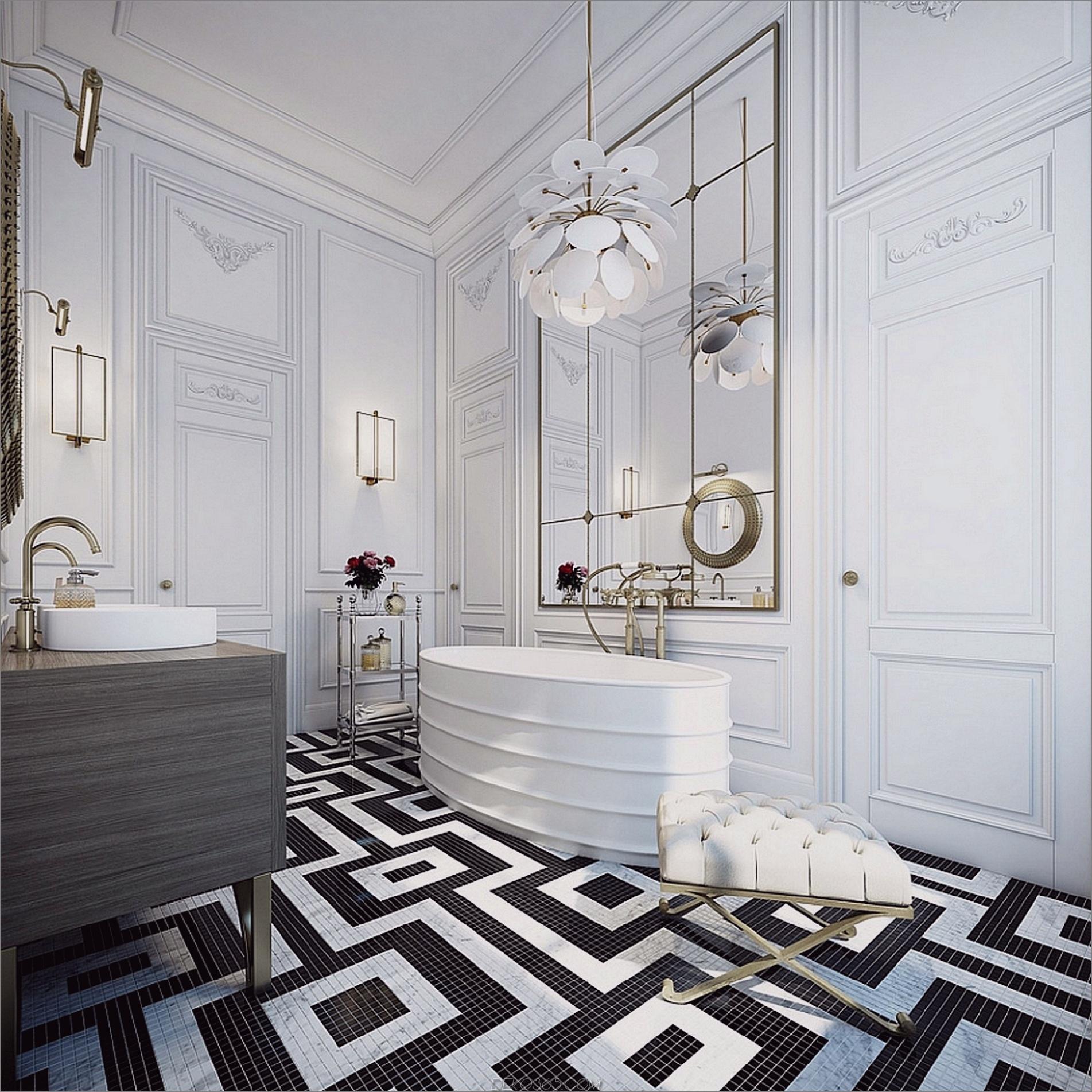 Art-Deco-Badezimmer Schwarzweiß-Badezimmer-Ideen, die nie aus der Mode kommen