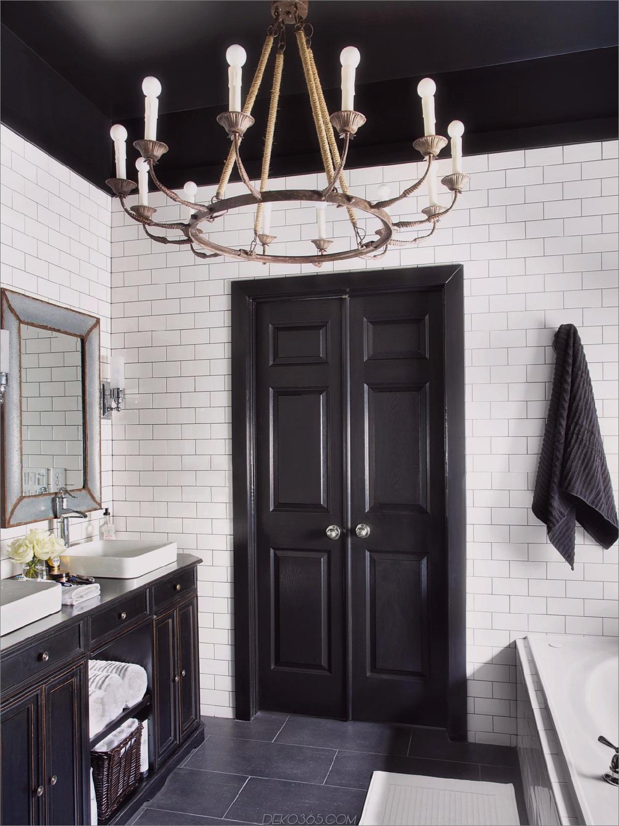 maskuline bathroom Schwarzweiß-Badezimmer-Ideen, die niemals aus der Mode kommen