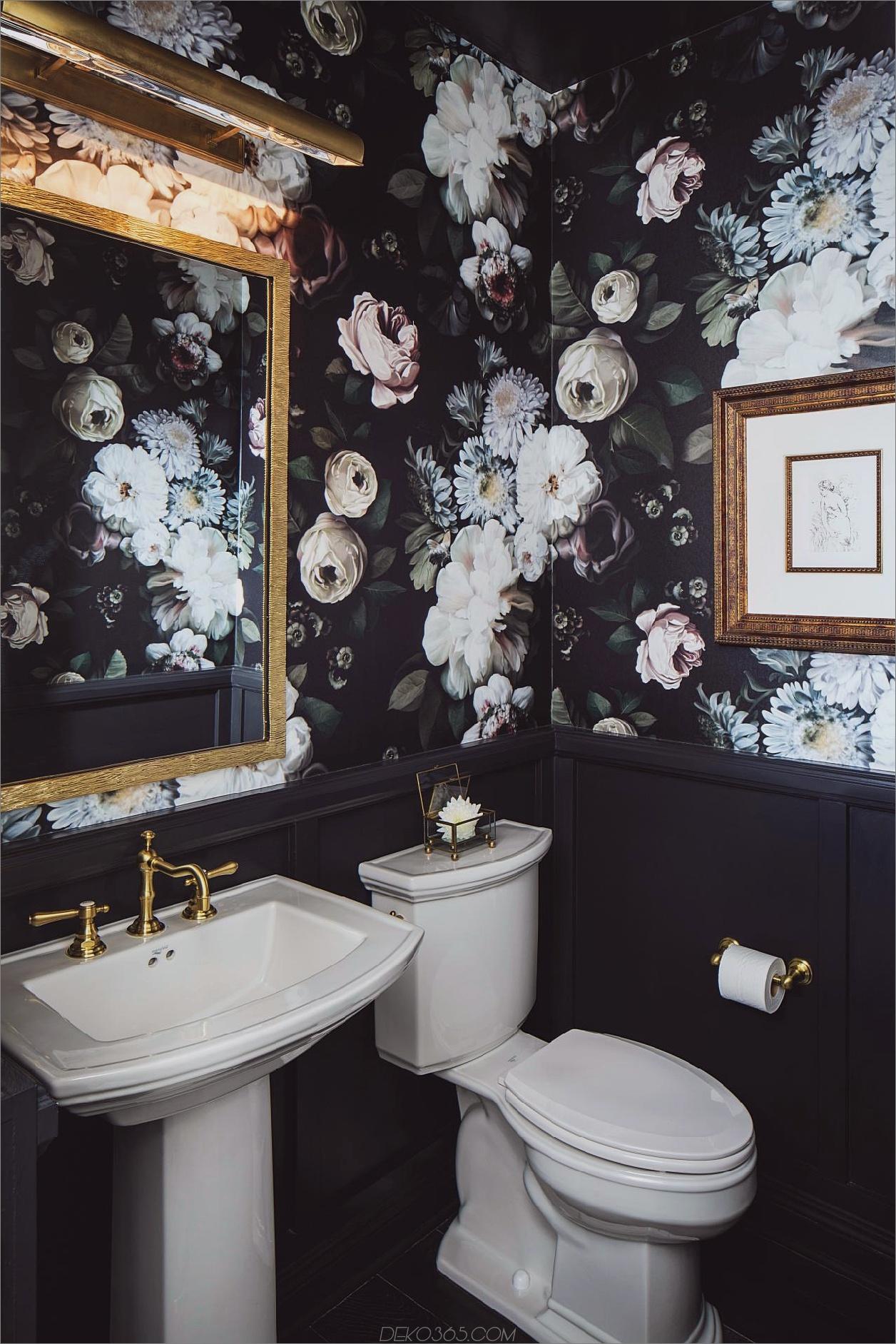 dark floral powder room Showhouse-Trends, die Sie für Ihr Zuhause stehlen möchten