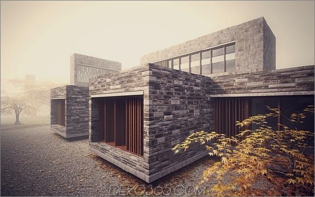 6 minimalistische Häuser gestapelt kreuzweise gemauerte Bände 1 thumb 630xauto 47958 Steinarbeiten Hausdesign mit Bambus nach innen wachsen