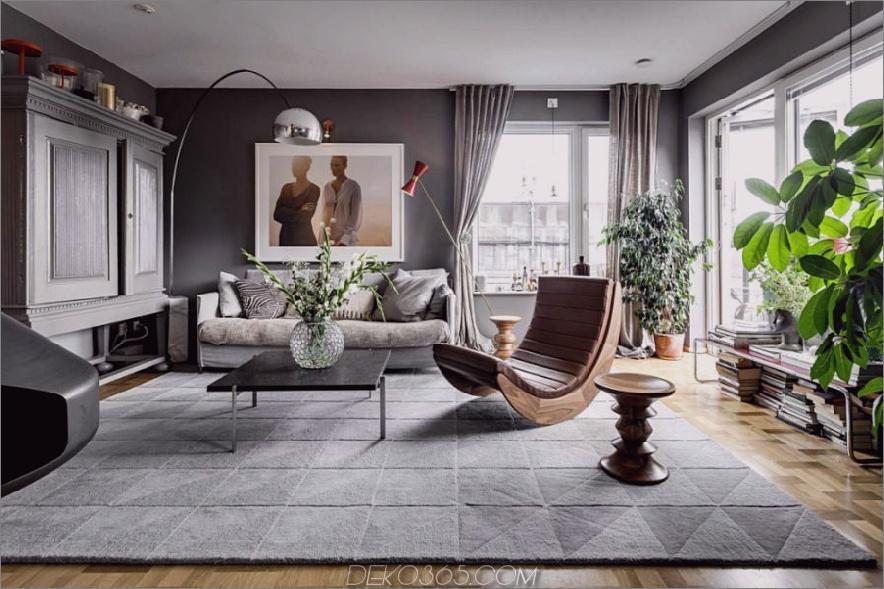 Geschmackvolles Wohnzimmer in Grautönen 900x599 Stylish in Stockholm: Zeitgenössisches Apartment With Flair von Alexander White