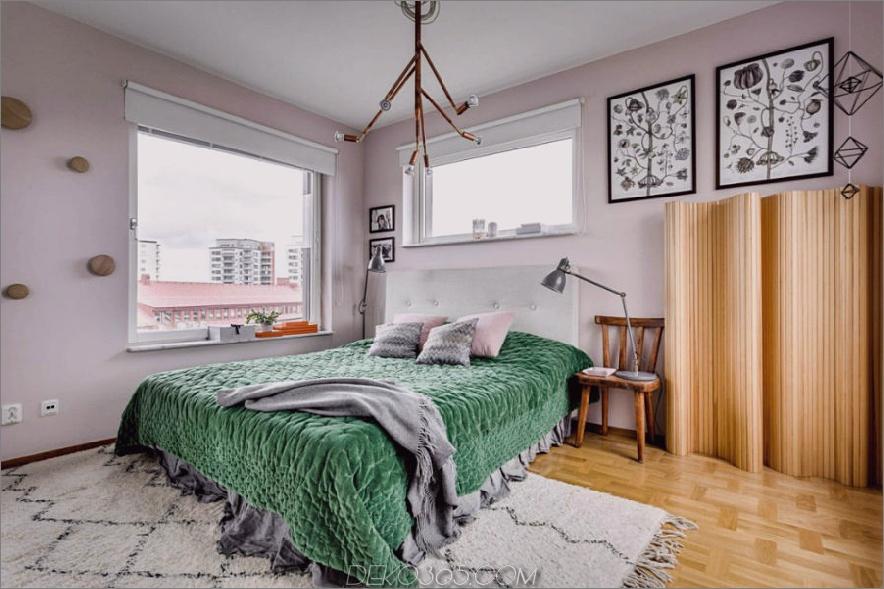 Helle Schlafzimmer kontrastieren puderrosa mit samtigem Grün