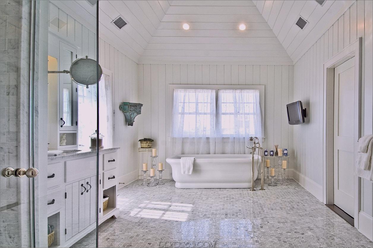 Fliesenboden im Badezimmer Beach House Decor, das das ganze Jahr über Sommer zu Ihnen nach Hause bringt
