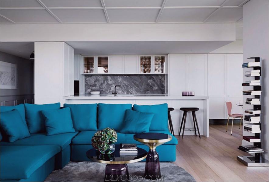 Helles Türkis ist ein schöner Kontrast zu veiny grauem Marmor 900x608 Studio Tate Renoviert ein Melbourne Penthouse im LA Glamour Style