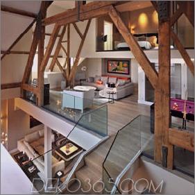 Gotisches Penthouse mit modernen Oberflächen und farbigen Akzenten