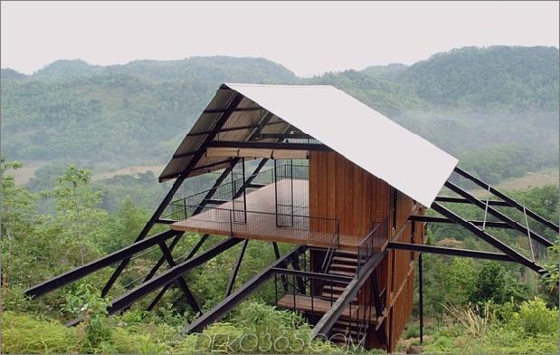 Tall Escape leitet Form abgewinkelte Stahlstützen 1 von hinten Hauptdaumen 630x398 20079 Tall Bungalow The Ark ein Drei-Schlafzimmer-Eco-Retreat in Sri Lanka