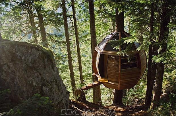 aufgehängte hölzerne Pod-Kabine um Baumstamm gebaut 1 Felswand rechter Daumen 630x417 28793 Abgehängte hölzerne Pod-Kabine um Baumstamm gebaut